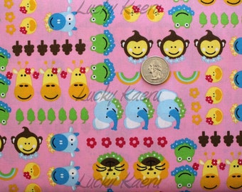SALE/CLEARANCE Kawaii Animal Faces and Flowers on Pink Fabric - By the Yard