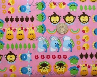 SALE/CLEARANCE Kawaii Animal Faces and Flowers on Pink Fabric - Half Yard