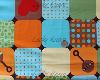 SALE/CLEARANCE Katie Hennagir, Little One, Blocks in Sunshine Organic Cotton Fabric - REMNANT Size 27 Inches by 44 Inches