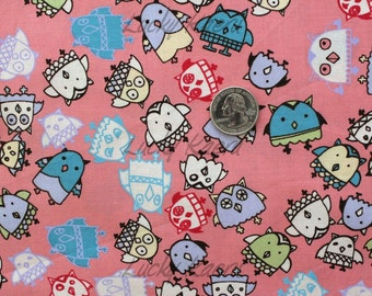 SALE/CLEARANCE Marie Jacobi, Owls Pink Japanese Fabric - Half Yard