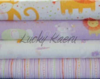 Alyssa Thomas of Penguin and Fish, Safari Sweet Purple Half Yard Organic Cotton Fabric Set
