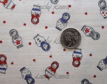 SALE Kawaii Matryoshka Doll Red Blue on Natural Japanese Double Gauze Fabric - Half Yard