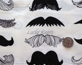 Alexander Henry Where's My 'Stache Natural Fabric - Half Yard