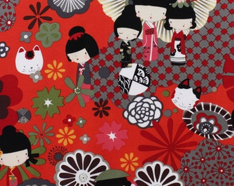 Alexander Henry Kaori Kokeshi Red OOP Fabric - REMNANT Size 21 Inches by 44 Inches