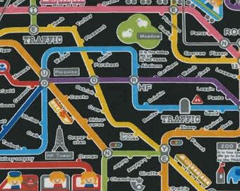 SALE Push Pin Rail Map on Black Japanese Fabric - Half Yard