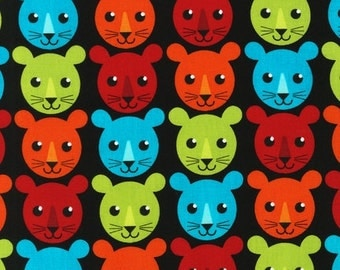 SALE/CLEARANCE Print & Pattern, Roar, Lion Cub Faces Fabric in Bright - By the Yard