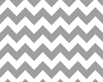 Riley Blake Designs, Medium Chevron Gray Fabric - Half Yard