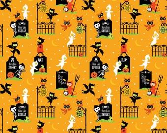 SALE/CLEARANCE Riley Blake Designs, Costume Clubhouse, Graveyard Orange Fabric - Half Yard