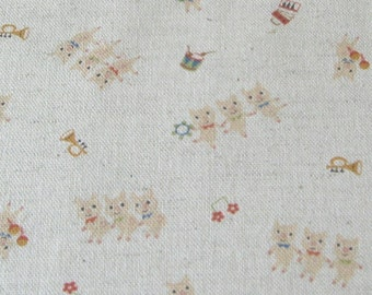 Three Little Pigs on Natural Japanese Fabric - Half Yard