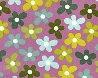 Chocolate Lollipop Daisy Raspberry OOP Fabric - Half Yard