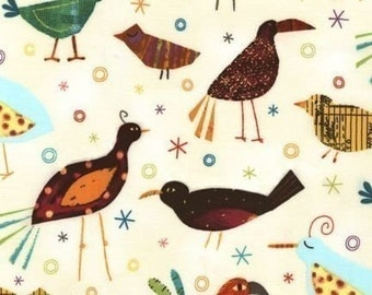 Robert Kaufman Creatures and Critters Birds Tropical OOP Fabric - Half Yard (Last One)