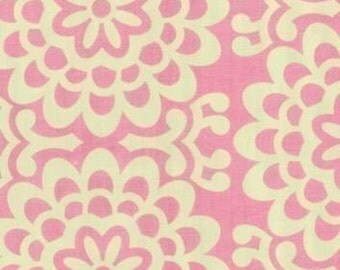 Amy Butler Wallflower Pink Fabric - REMNANT Size 28 Inches by 44 Inches