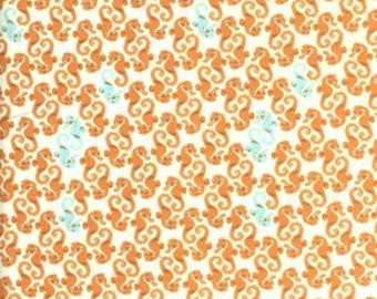 Heather Ross Mendocino Seahorse Natural OOP Fabric - Half Yard
