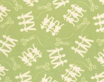 SALE Michael Miller Kid Cut Ups Sage Green Fabric - Half Yard