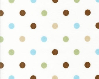 SALE Robert Kaufman Cozy Cotton Polka Dots Chocolate FLANNEL Fabric - By the Yard