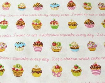 Japanese Cupcakes on White (Pink Words) Fabric - Half Yard