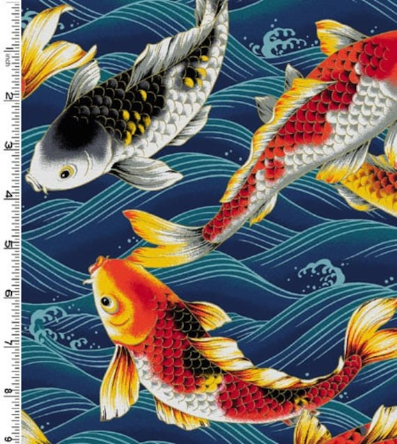 Koi fish on blue fabric by the yard for Fish fabric by the yard