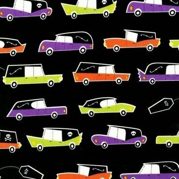 Caleb Gray, Eerie Alley, Hearse Bright Fabric - By the Yard