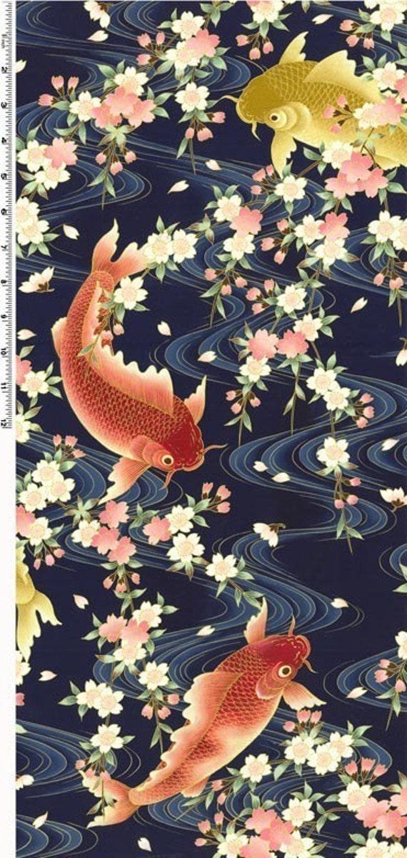 Twelve art treasure of japan koi fish on navy by for Koi fish material