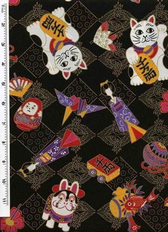 Japanese Maneki Neko (Good Luck Cat) Black Fabric - Remnant Size 27 Inches by 44 Inches