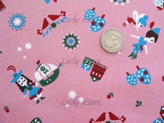 Fairy Tale Peter Pan on Pink Japanese Fabric - Half Yard