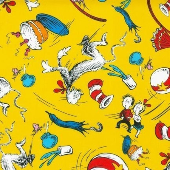 Dr. Seuss, Cat in the Hat, Scene in Yellow Fabric - By the Yard