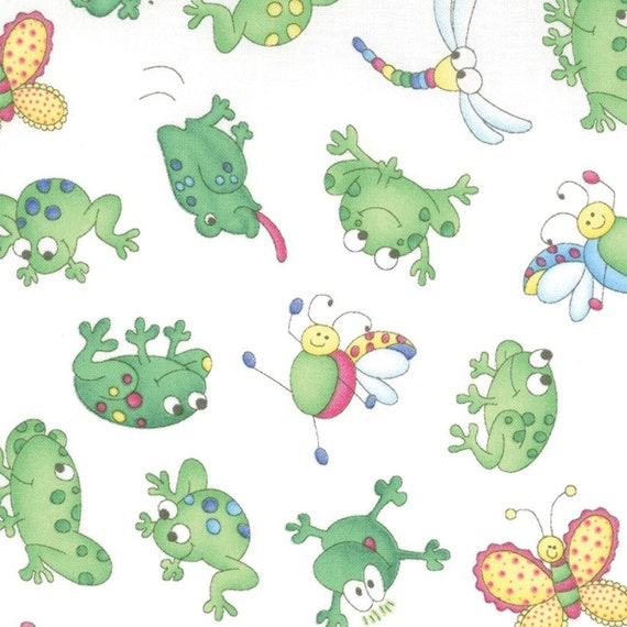 SALE Moda Girlie Girl, Frog Friends White Fabric - By the Yard