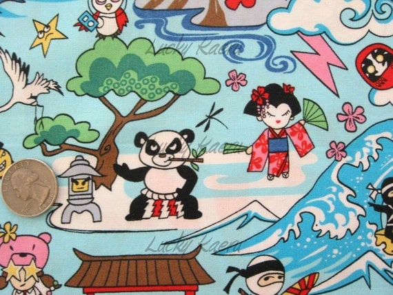 Kawaii Sumo Panda Anime Cartoon Blue Fabric - By the Yard