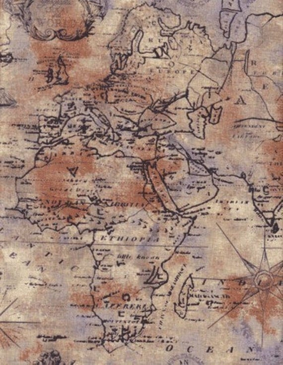 Timeless Treasures World Map Fabric in Tan - By the Yard