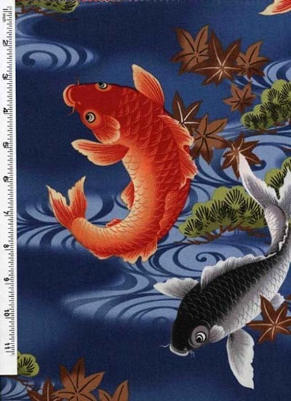 Koi lagoon japanese koi fish on blue fabric by the yard for Koi fish material