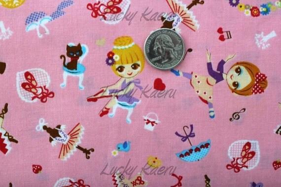 Cute Doll Ballerinas on Pink Japanese Fabric - Half Yard