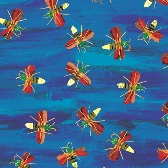 The Very Series Fireflies on Blue Fabric by Eric Carle - By the Yard
