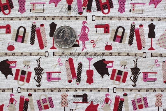 SALE Fashion Sewing Machine Japanese Linen Fabric - Half Yard