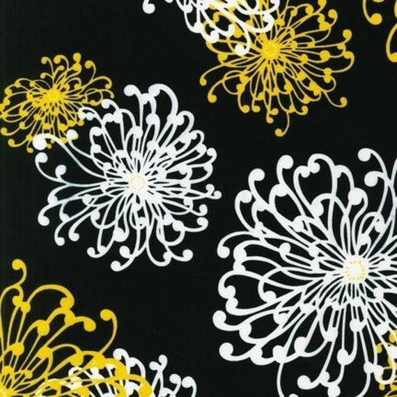 NEW Robert Kaufman Night and Day 3 Large Floral Yellow White on Black Fabric - By the Yard