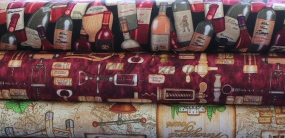 Dan Morris, Through The Grapevine, Wine Burgundy Half Yard Fabric Set