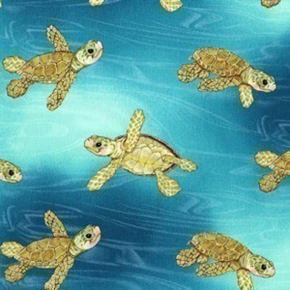 Michael Miller Surfs Up Sea Turtle Aqua Fabric - By the Yard