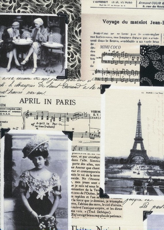 April in Paris Collage on Ivory Fabric - By the Yard