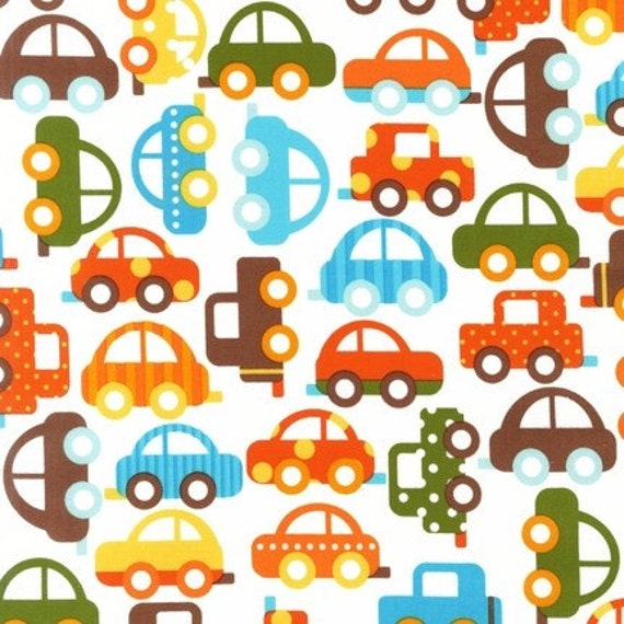 Ann Kelle, Ready, Set, Go, Cars in Bermuda Organic Cotton Fabric - By the Yard