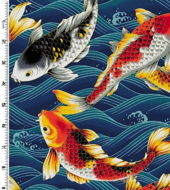 Koi fish on blue fabric by the yard by luckykaerufabric on for Koi fish print fabric
