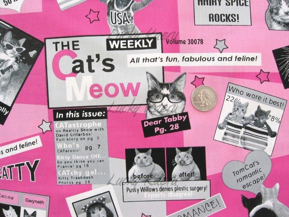 Kitty Cat Gossip Magazine Pink Fabric - Remnant Size 33 Inches by 44 Inches