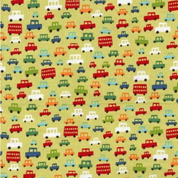 Michael Miller Toot Toot Lime Fabric - By the Yard