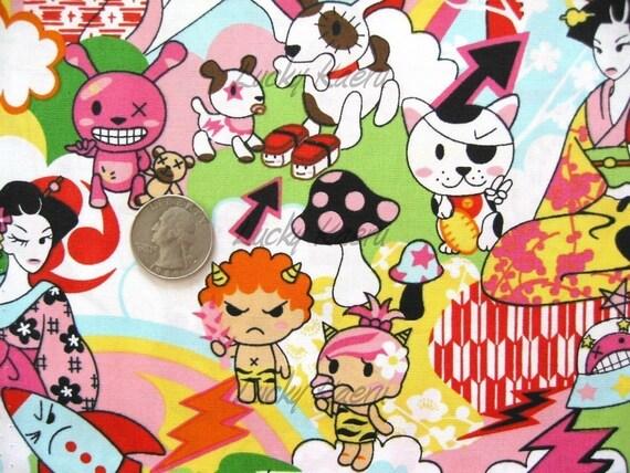 Kawaii Geisha Anime Cartoon Pink Fabric - By the Yard