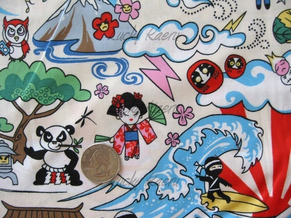 Kawaii Sumo Panda Anime Cartoon Cream Fabric - By the Yard
