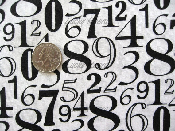 Numbers Black on White Fabric - By the Yard