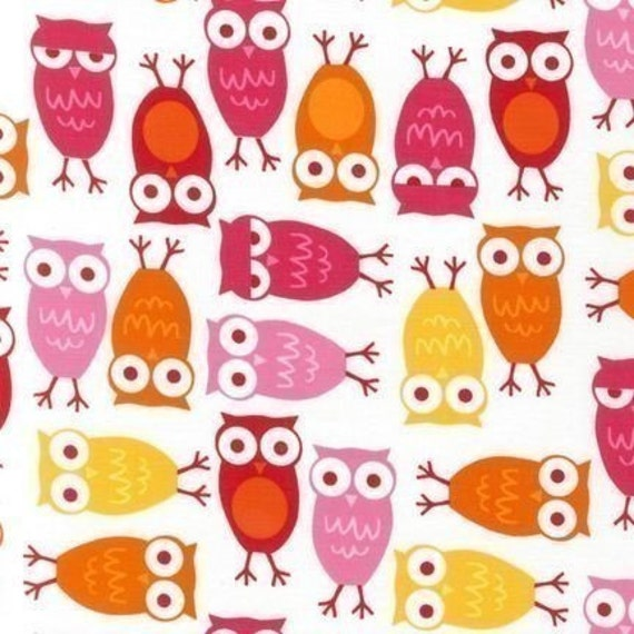 Ann Kelle Urban Zoologie, Owls Pink Fabric - By the Yard