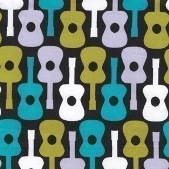 Michael Miller Groovy Guitar Lagoon Fabric - By the Yard