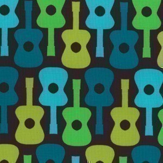 Michael Miller Groovy Guitar Lime Fabric - By the Yard