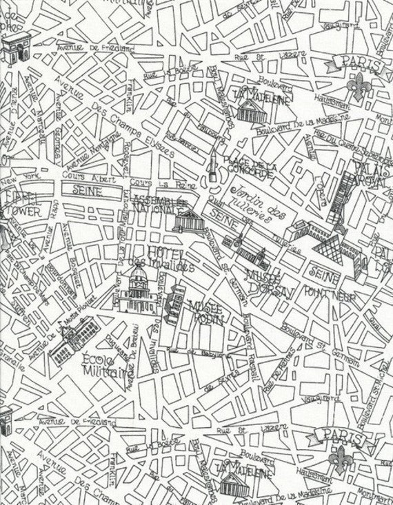 Timeless Treasures Paris Map Fabric in White - By the Yard