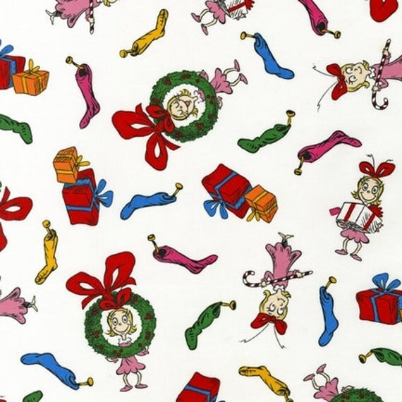 NEW Dr. Seuss, How The Grinch Stole Christmas, Cindy Lou on White Fabric - By the Yard