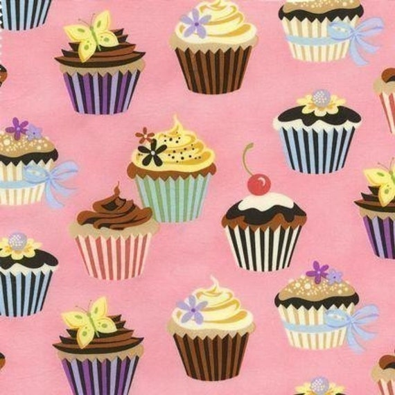 Robert Kaufman Sweet Tooth Cupcakes on Petal Pink Fabric - By the Yard